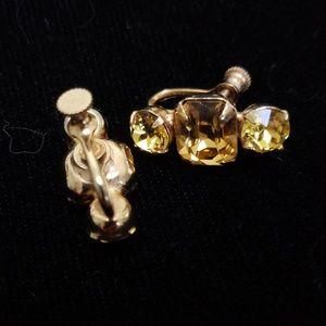 VTG Citrine-color Rhinestone Screwback Earrings